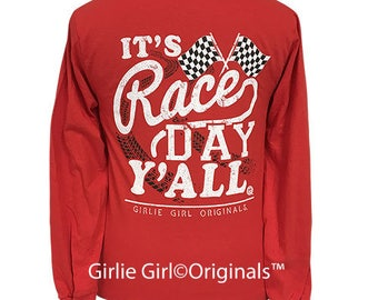 Girlie Girl Originals Race Day Red Long Sleeve T-Shirt