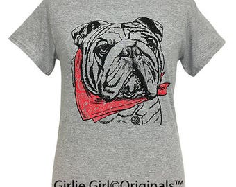 Girlie Girl Originals Paisley Bandana Bulldog Sport Grey Short Sleeve T-Shirt