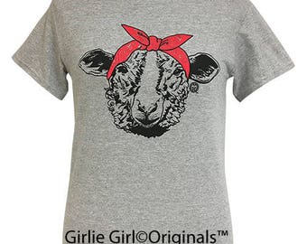 Girlie Girl Originals Paisley Bandana Sheep Sport Grey Short Sleeve T-Shirt