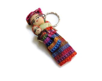 Worry Doll Keychain, trouble doll, kids gift idea, fabric dolls, mini worry dolls, Guatemala Key Chain