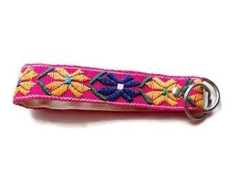Wristlet Key Chain, Lanyard, Keychain, Fabric Key Fob, Short Lanyard, Stocking Filler, Eco Friendly, Boho Style