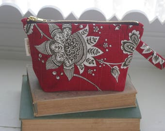 Red and Brown Floral Linen/Cotton Blend Cosmetic Pouch Toiletry Bag Zippered Mother's Day Bridal Shower Gift
