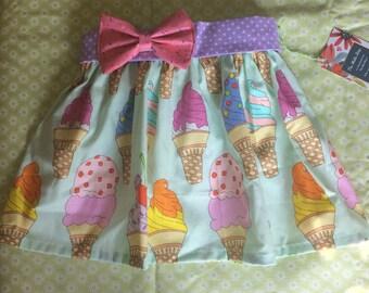 Summer Fun Ice cream Elastic Waist Twirl Skirt for Baby or Toddler Girl