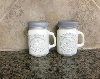 ON SALE Mason jar salt and pepper shakers - farmhouse style salt and pepper shakers -shabby shakers - mason jar decor - mason jars for kitch