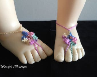 Baby Birthstone Barefoot Sandals -Pair - October