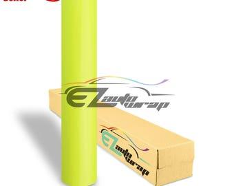 Gloss Glossy Fluorescent Neon Yellow Car Vinyl Wrap Sticker Decal