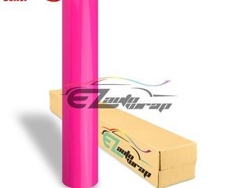 Gloss Glossy Fluorescent Neon Pink Car Vinyl Wrap Sticker Decal