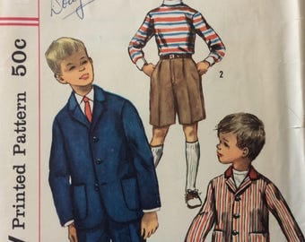 Simplicity 1980 boys suit size 4 vintage 1950's sewing pattern