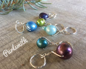This Week's Special Mix for Sticks Freshwater Pearl & Sterling Silver Stitch Markers for Knitting,Set of 6,Knitting Notions,