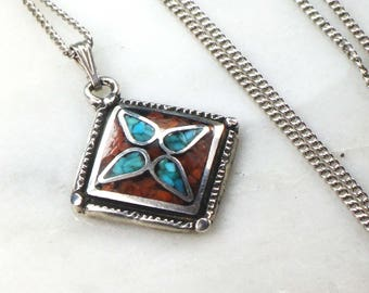 Vintage Turquoise Necklace Sterling Silver Turquoise Necklace Sterling Silver Coral Necklace Turquoise and Coral Inlay Necklace Geometric
