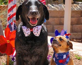 Patriotic Stars Dog Bow Tie  || Personalized Preppy Bowtie || Custom Gift by Three Spoiled Dogs