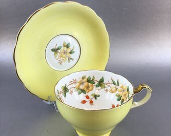 Staffordshire Vintage Yellow Floral Bone China Teacup England