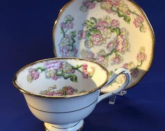 Royal Albert Deep Red and Gold Bone  China Teacup and Saucer England 4256#