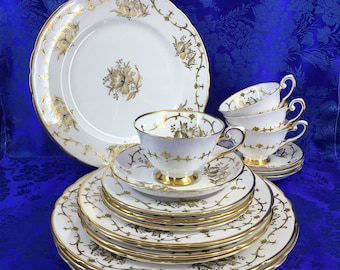 1 Of 2 - 20 Piece Tuscan Royalty Bone China England Serving Set Mint Vintage Plate