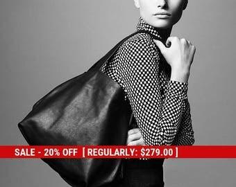 black leather tote handbag - black leather handbag - black tote bag - black tote purse - black shoulder bag - black leather bag - CLSB