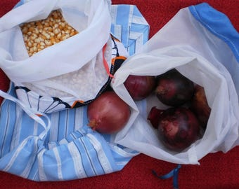Set of 3 reusable produce bags.  Produce bags.  Market bags.  Fruit and vegetable bags.  bulk produce bags.  zero waste bags.