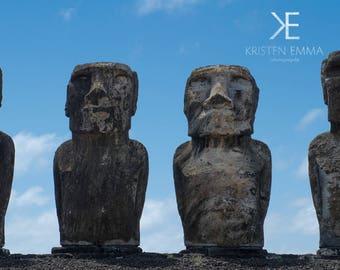 Moai | Easter Island, Chile ~ Moai, statue, carving, bird man, Ahu Tongariki, Rapa Nui, Rano Raraku, Polynesia, stone