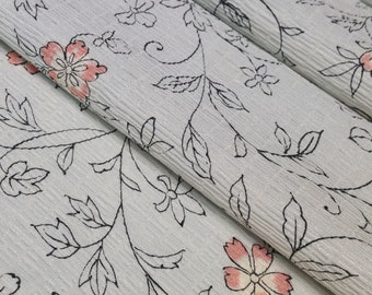 Textured silk Kimono fabric - pale silver floral arabesque- by the yard