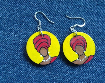 Headwrap Painted Wood Earrings-- yellow