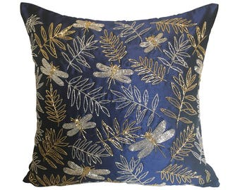 Navy Throw Pillow Cover, Dragonfly Pillow