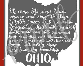 8x10 Hand-Lettered, Carmen Ohio Wall Art