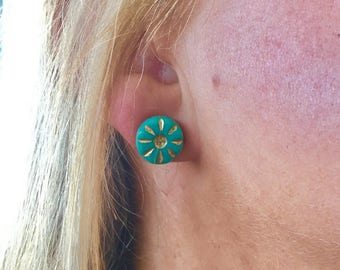 Teal Western Style Stud Earrings