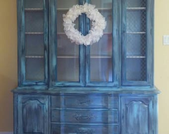 Vintage china cabinet, beachy hutch, shabby chic china cabinet, distressed hutch, queen anne hutch, painted china cabinet, painted hutch