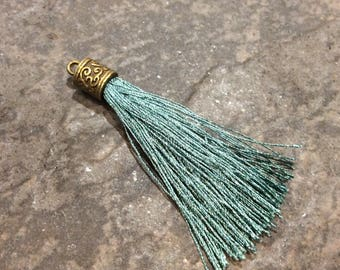 Dark Teal Silk tassels with Antique Bronze Filigree Caps Beautiful tassels for Jewelry Making Fall Color Tassels