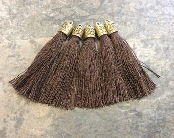 Chocolate Brown Silk tassels with Antique Bronze Filigree Caps Beautiful tassels for Jewelry Making Spring Color Tassels