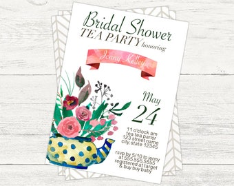Tea party bridal shower invitation. Digital