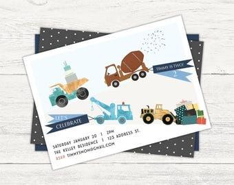 Trucks on parade birthday invitation