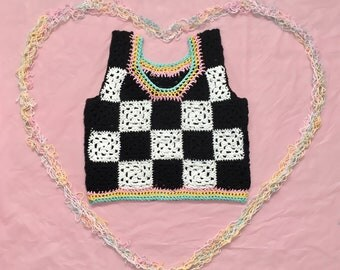 CROCHET CHECKERED COTTON rainbow top!