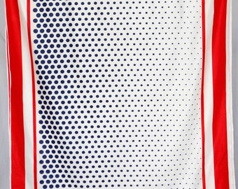Shiny 70's red white blue polyester dotted striped americana fabric