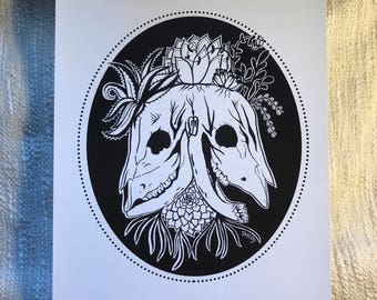 Double headed cow skull - Print