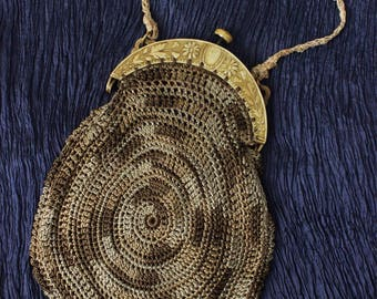 SALE Antique 1920's Crochet Hand Bag with Floral Celluloid Handle // Mint Condition