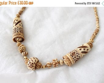 SALE Antique 1920s Hand-Carved Bone Necklace
