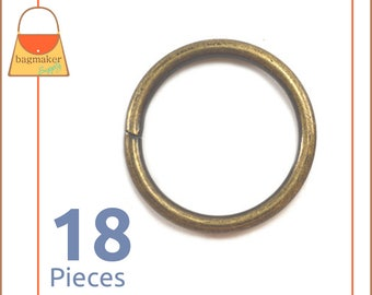"1 Inch Antique Brass / Bronze O Rings, 18 Pieces, Handbag Purse Bag Making Hardware Supplies, 1"", One Inch, RNG-AA169"