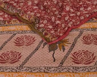 KK Printed Blend Georgette Saree Dark Red Dress Sari Craft Fabric