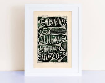Everything Is Illuminated by Jonathan Safran Foer Print on an antique encyclopedia page, book cover art