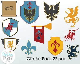 Medieval Knight Digital Scrapbooking Clip Art, Buy 2 Get 1 FREE. Instant Download