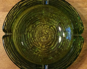 Vintage Heavy Textured Round Green Glass Ashtray