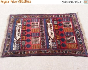 SUMMER SALE 25% OFF Size:4.7 ft by 2.10 ft Handmade Rug Vintage Afghan Tribal City of Afghanistan Wool Carpet Wall Hanging Rug
