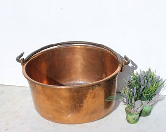 Vintage French Copper ,cauldron,urn, ,French Copper planter,Home decor