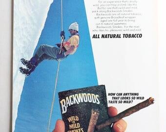 Backwoods Wild & Mild Cigars vintage 1980s print ad