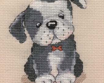 KL88 Bruce! Puppy Counted Cross Stitch Kit