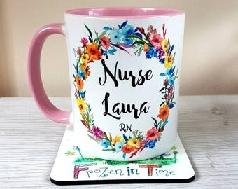 Personalised name mug floral wreath personalized mug custom coffee mug Nurse gift tea mug Gift for her doctor mug gift wildflower