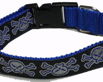 Dog Collar, Skull - Metallic Blue