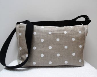 Bag shaped box in beige linen and white polka dots