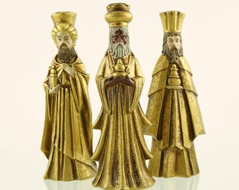 Vintage three wise men candle holders