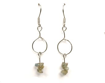Dainty jewelry, silver wire earrings, labradorite jewelry, crystal earrings, dainty earrings, silver wire jewelry, labradorite earring, ylic
